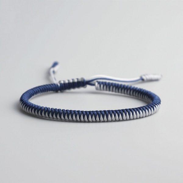 Bracelet De La Chance – Tressé Bicolore Bleu