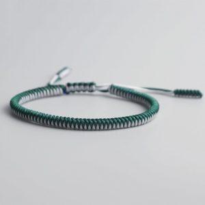 Bracelet de la chance – Tressé Bicolore – Vert/blanc