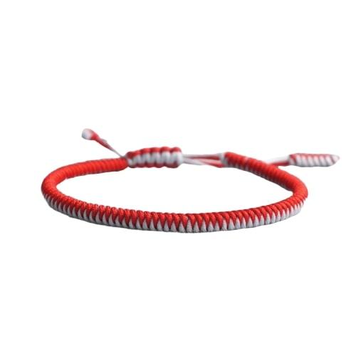 Bracelet De La Chance Tressé Bicolore Rouge