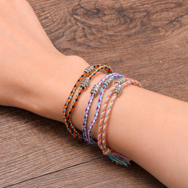 Ethnique Tib Tain Bouddha T Te Tiss E Amulette Multicolore Bracelets Bracelets Pour Femmes Hommes Fait 1