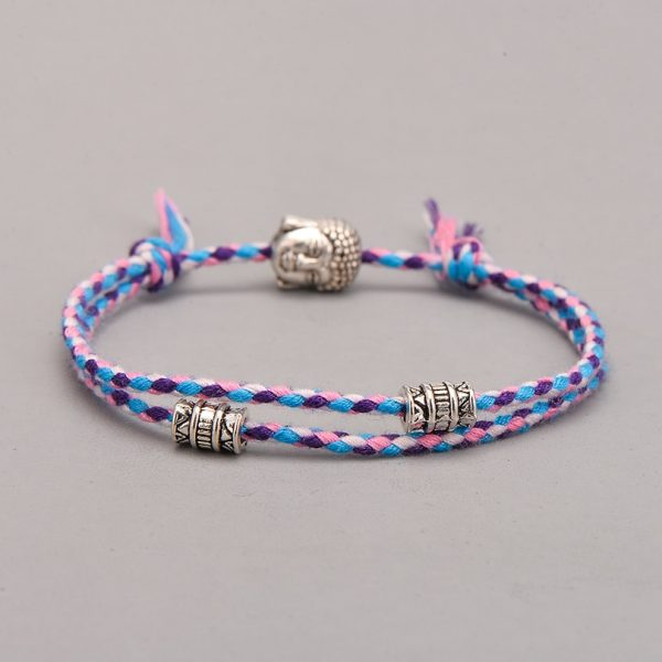 Ethnique Tib Tain Bouddha T Te Tiss E Amulette Multicolore Bracelets Bracelets Pour Femmes Hommes Fait 2