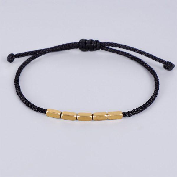 Tib Tain Bouddhiste Cr Atif Irr Gulier Cuivre Perles Rouge Noir Corde Tirant Bracelet Pour Femmes 5