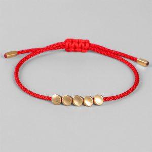 Bracelet Tibétain – Rouge | Noir – Rouge 5 perles