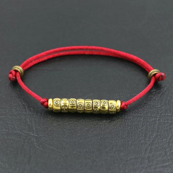 Tib Tain Bouddhiste Fait Main Tresse Bracelets Pour Hommes Femmes Chanceux Noir Rouge Corde Fil Reiki 2