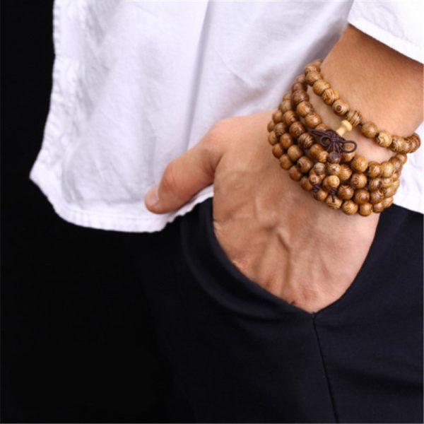 Bracelet Tibétain Homme Perle De Bois