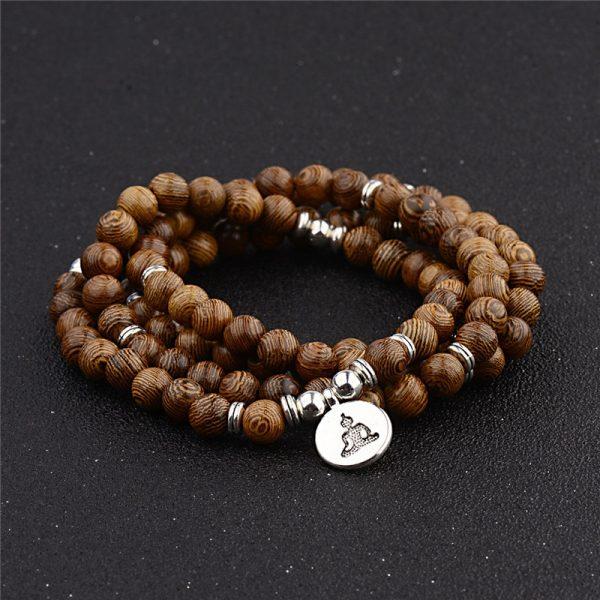 Multicouche 108 Perles De Bois Lotus Om Bracelet Tib Tain Bouddhiste Mala Bouddha Breloque Chapelet Bracelet 1