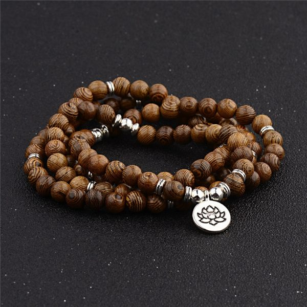 Multicouche 108 Perles De Bois Lotus Om Bracelet Tib Tain Bouddhiste Mala Bouddha Breloque Chapelet Bracelet 2