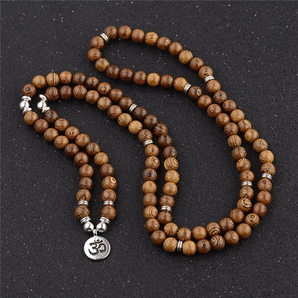 Multicouche 108 Perles De Bois Lotus Om Bracelet Tib Tain Bouddhiste Mala Bouddha Breloque Chapelet Bracelet 3