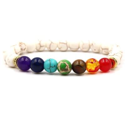 Nouveau 7 Chakra Bracelet Hommes Noir Lave Gu Rison Quilibre Perles Reiki Bouddha Pri Re Pierre 2