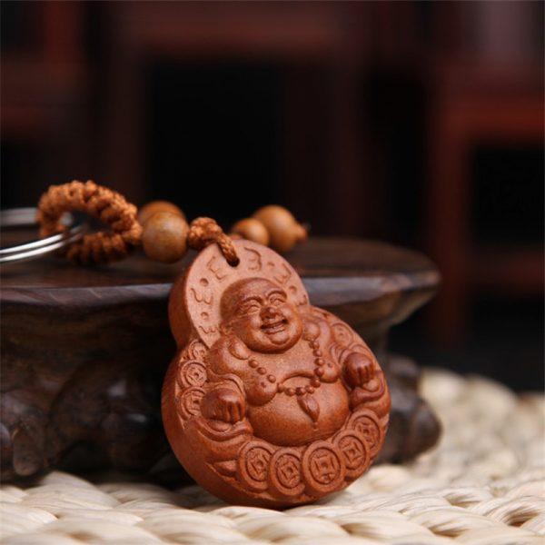 Nouveaut Bijoux Chanceux P Che Bois Sculpture Boucle Bouddha Pendentif Porte Cl S Pour Voiture Sac 1