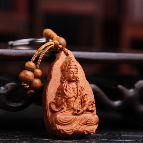 Nouveaut Bijoux Chanceux P Che Bois Sculpture Boucle Bouddha Pendentif Porte Cl S Pour Voiture Sac 3