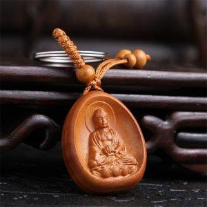 Porte-clés Bouddha en bois