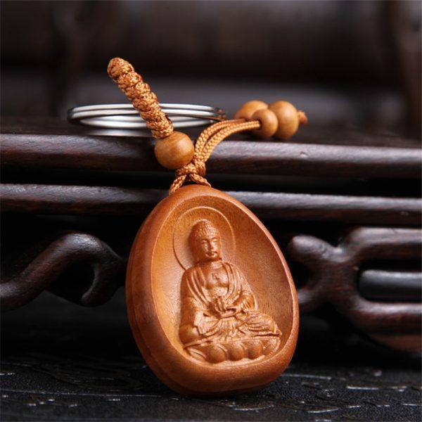 Nouveaut Bijoux Chanceux P Che Bois Sculpture Boucle Bouddha Pendentif Porte Cl S Pour Voiture Sac