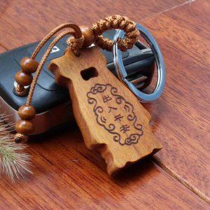 Porte-clés Bouddha – Bois de pêcher