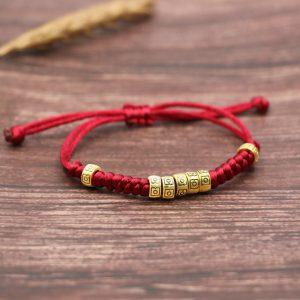 Bracelet porte bonheur tibétain – bordeaux