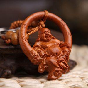 Porte-clés Bouddha marron clair