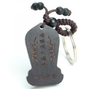 Porte-clés Bouddha en bois d'ébène