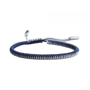 Bracelet de la chance – Tressé Bicolore – Bleu/blanc