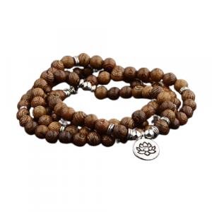 Bracelet tibétain homme en bois – lotus