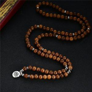 Collier Mala tibétain bois