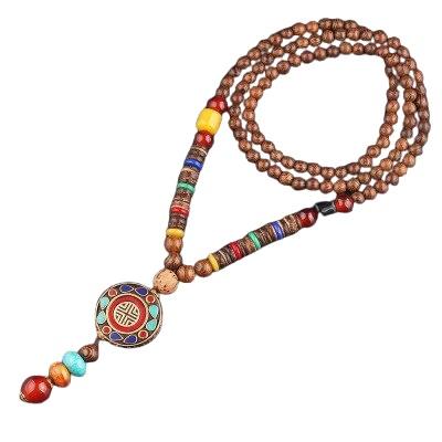 collier perles bois tibetain