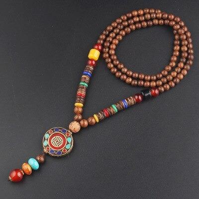 collier tibetain en perles de bois
