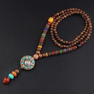 Collier tibétain bois