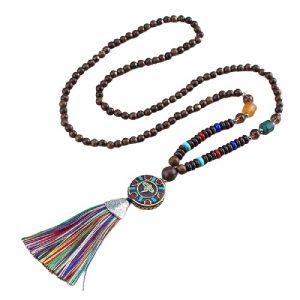 Collier tibétain perles de bois