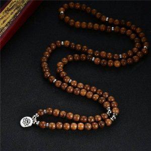 Collier Mala tibétain en bois